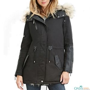 Black Buckled Womens Parka Jacket