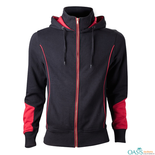 Black Hoodie Jacket Manufacturer With Zip