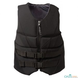 Black Quilted High Neck Vest