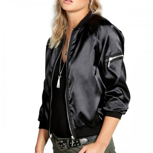 Black Satin Varsity Jacket