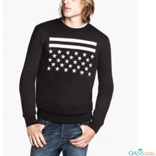Printed black full sleeve sweatshirt