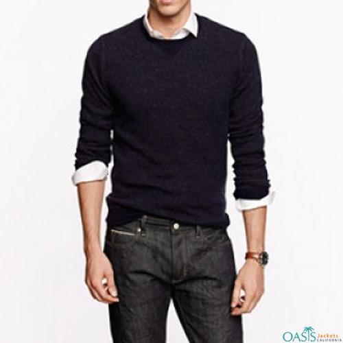 Deep black round neck sweatshirt