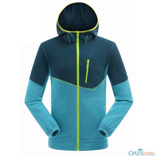 Wholesale Blue Polar Fleece Hoodie Jacket
