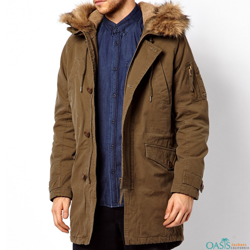 Brown Mens Parka Jacket