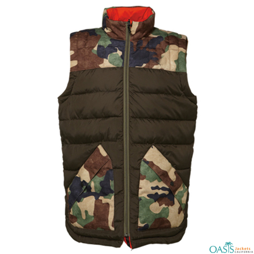 Brown and Grey Army Style Vest Jacket