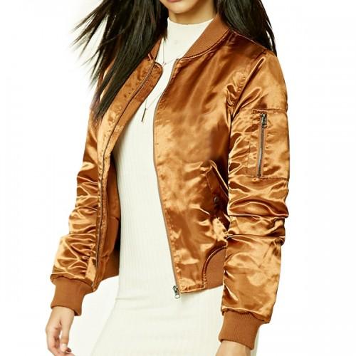 Gold Satin Baseball Jacket for Women