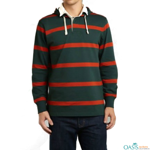 Green and red striped full sleeve sweatshirt