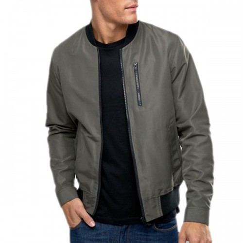 Grey Satin Letterman Jacket for Men