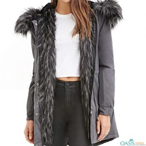 Grey Womens Parka Jacket