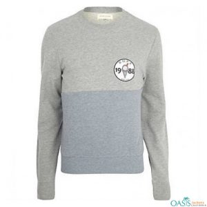 Grey and powder blue crewneck jacket