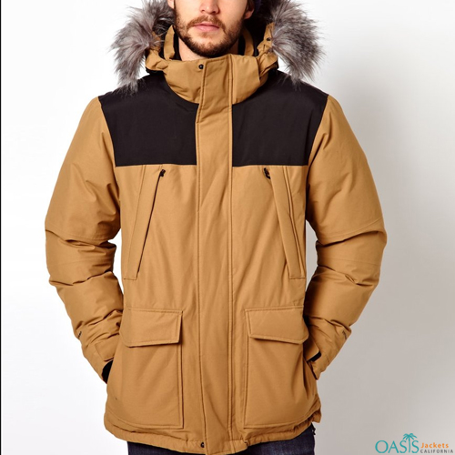 Mens Color Block Parka Jacket
