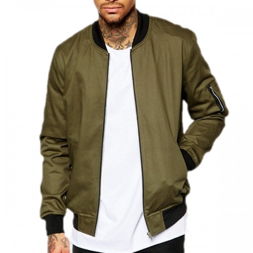 Moss Green Satin Baseball Jacket