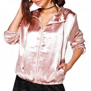 Pink Velvety Satin Bomber Jacket for Girls
