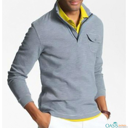 Powder blue collared sweatshirt