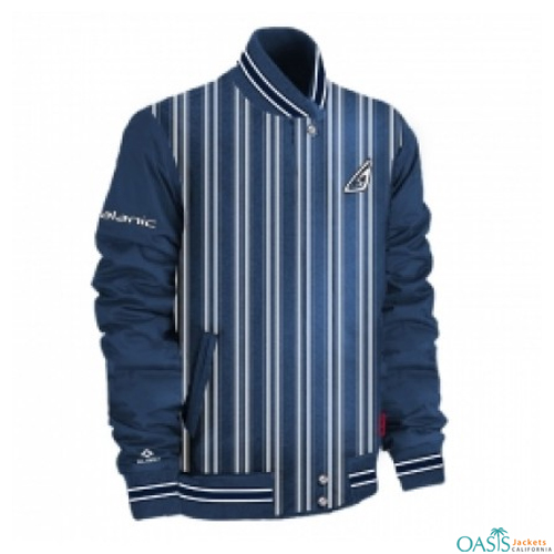 Striped Golf Jacket in Pale Indigo