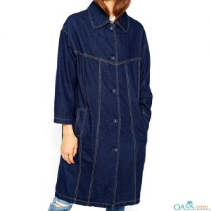 Womens Denim Trench Coat Manufacturer