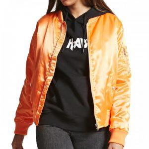 Womens Plussize Satin Varsity Jacket