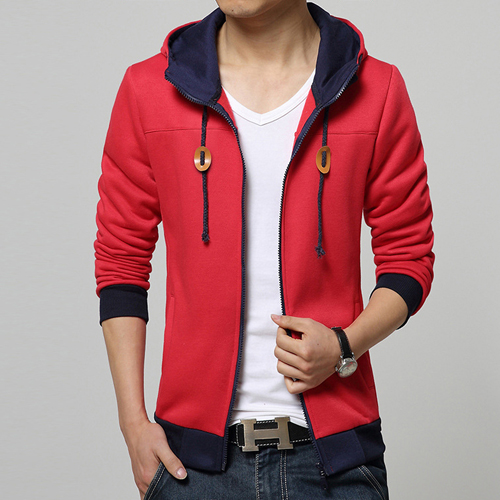 Zippered Red Hoodie Jacket