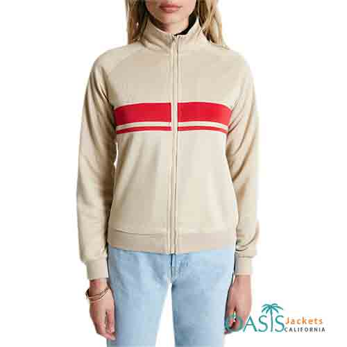 Beige and Red Pretty Womens Bomber Jackets