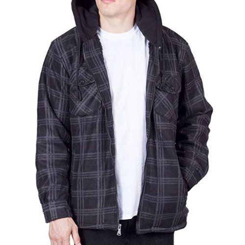 Wholesale Black & Grey Checked Hooded Flannel Jackets