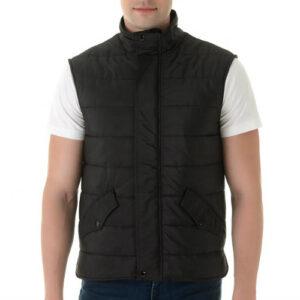 Black Quilted High Neck Vest Manufacturer