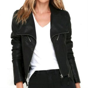 Sleek Black Leather Jacket Manufacturer