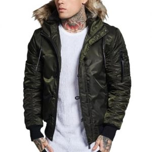 Black Zipper Green Army Jacket