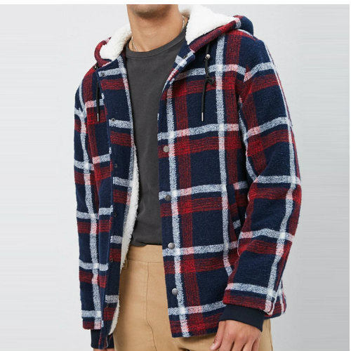 Wholesale Blue & Orange Checked Flannel Jacket