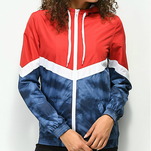 Blue and Red Zipped Rain Jacket Manufacturer