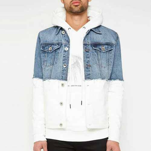 Blue and White Classic Jean Jacket Manufacturers