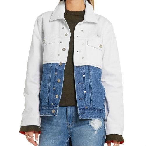 Blue and White Funky Denim Jacket Manufacturer