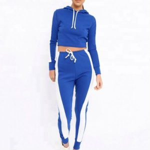 Wholesale Blue and White Relaxing Sports Tracksuits
