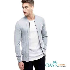 Wholesale Bluish Grey Plain Men's Bomber Jacket