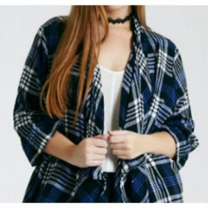 Wholesale Bold Blue & Black Checked Flannel Jacket