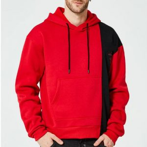 Bright Black & Red Windcheater Hoodie Manufacturer