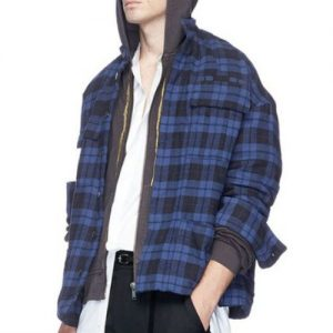 Wholesale Bright Blue Hooded Flannel Jackets