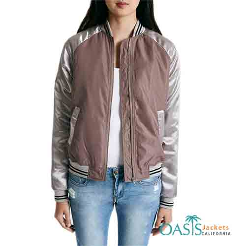Brown and Silver Womens Bomber Jacket Manufacturer