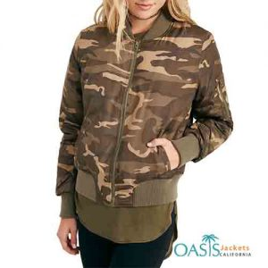 Camo Printed Womens Bomber Jacket