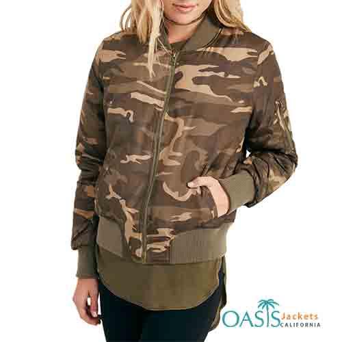 Camo Printed Womens Bomber Jacket