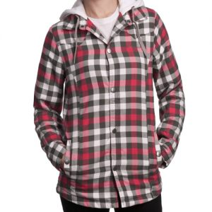 Cherry Red and Black Checked Flannel Jacket
