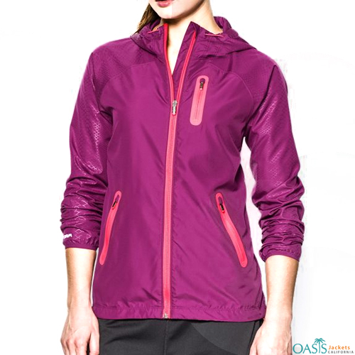 Dark Pink Ladies Windbreaker Overcoat