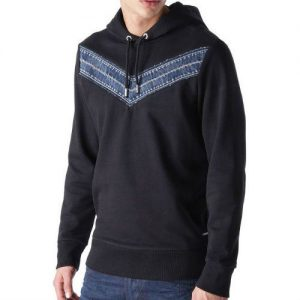Denim Blue Fleece Hoodie For Men