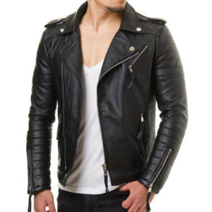 Gloss-Black Biker Leather Jacket Manufacturer