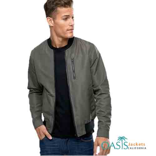 Greenish Grey Mens Leather Bomber Jackets