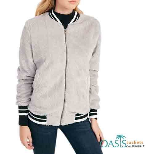 Grey and Black Simple Womens Bomber Jacket