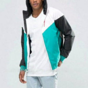 Grey and Sea Green Cute Hooded Varsity Jacket Manufacturer