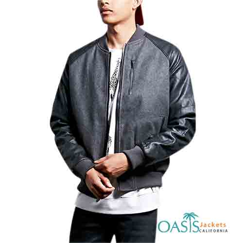 Grey & Black Leather Mens Bomber Jacket