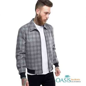 Grey Check Patterned Mens Bomber Jacket