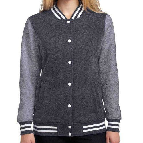 Wholesale Simple Grey Women's Varsity Jacket