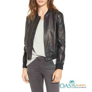 Haute Couture Black Leather Women's Bomber Jacket